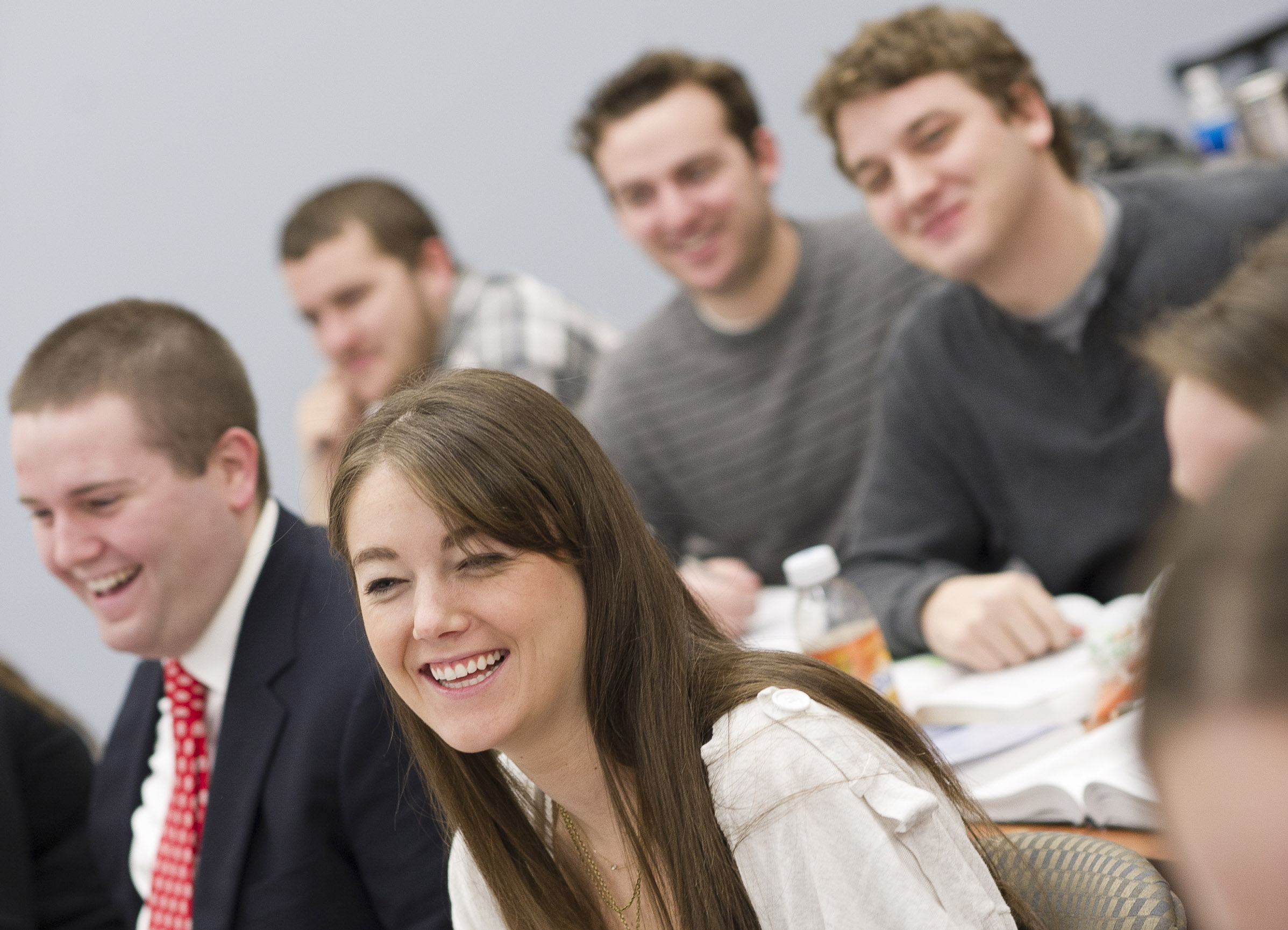 law students sitting in class smilling