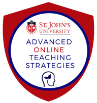 A crest shaped digital badge that contains the St. John's logo and the words Advanced Online Teaching Strategies
