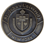 St. John's University Bronze Medal featuring University crest.  Text: St. John's University and New York