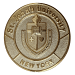 St. John's University Gold Medal featuring University crest.  Text: St. John's University and New York