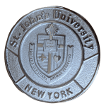 St. John's University Silver Medal featuring University crest.  Text: St. John's University and New York