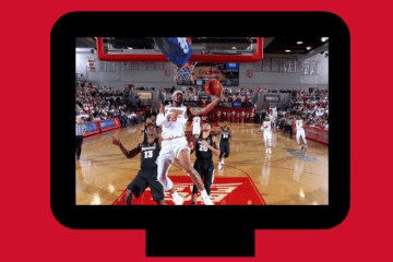Image of men playing basketball on TV graphic