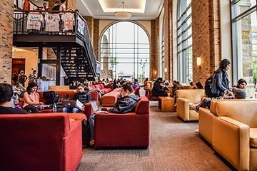 Students in lounge on St. John's Campus