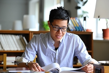 Male student studying
