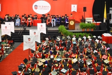 Overhead shot of the commencement ceremony at St. John's University