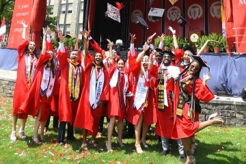Students celebrating after commencement