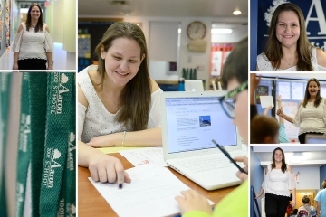 Collage of Helen Rooney '11Ed in her classroom and school