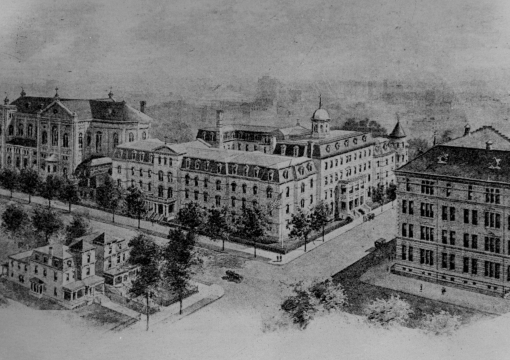 Black and White drawing of Lewis Avenue Campus in Brooklyn