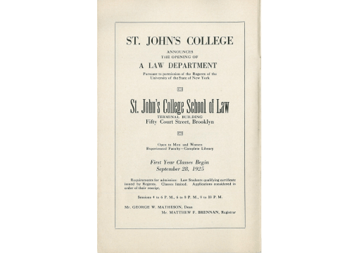 St. John's College Announces the Opening of A Law Department in 1925