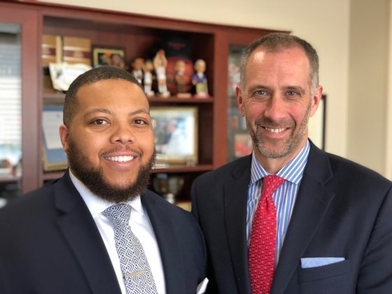 Terrell Hutchins (L) and Dean Michael A. Simons (R)