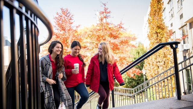 Students Walking up the stairs on St. John's Campus