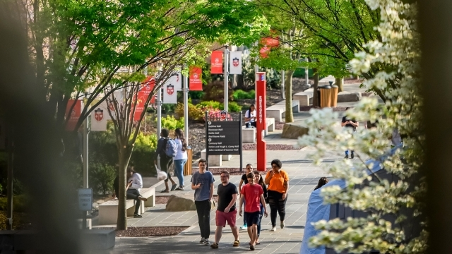 Students Walking on Campus in the Spring