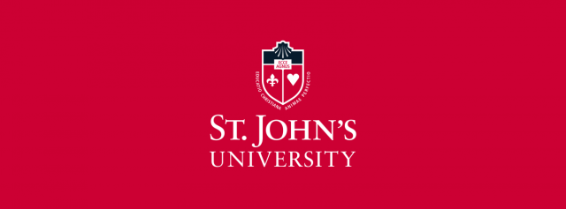 St. John's University Logo on red background