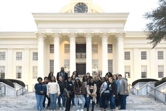 St. John's students in front of the Alabama State Capitol