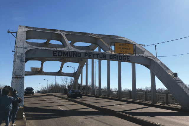 The Edmund Pettus Bridge was the site of the conflict of Bloody Sunday on March 7, 1965.