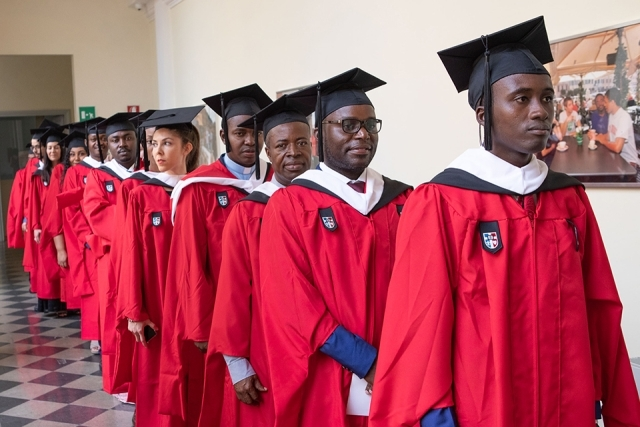 Rome Campus graduates lined up