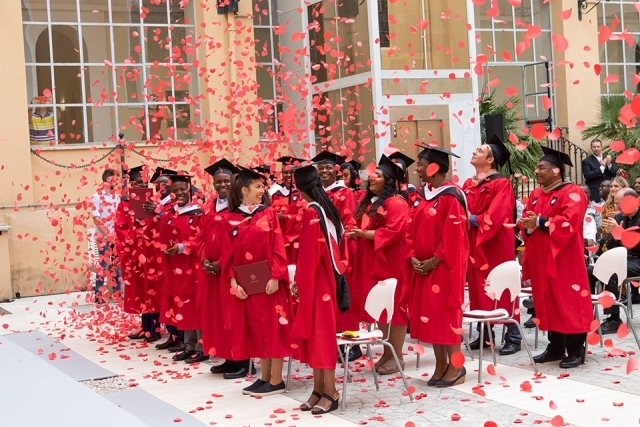 Rome graduates and confetti in the air