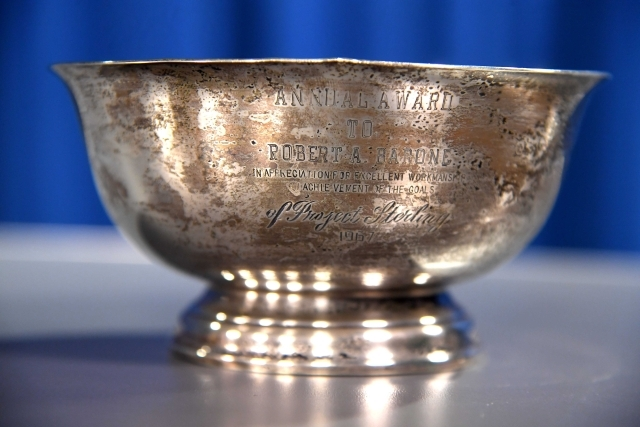 Bowl with Bob Barrone's name engraved on it