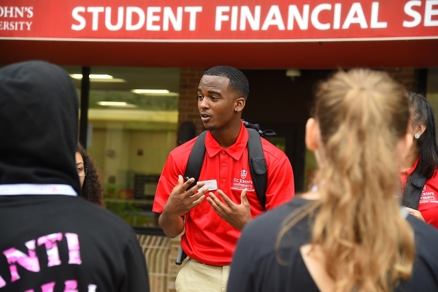 Orientation leader speaks to new students