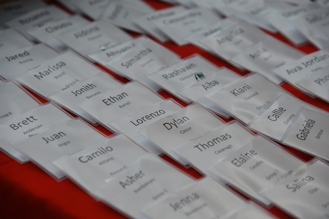 Name tags on a table
