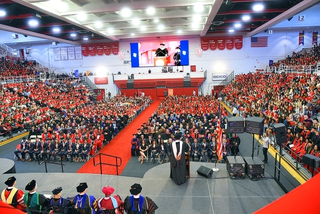 Overhead shot of Carnesecca Arena during New Student Convocation ceremony