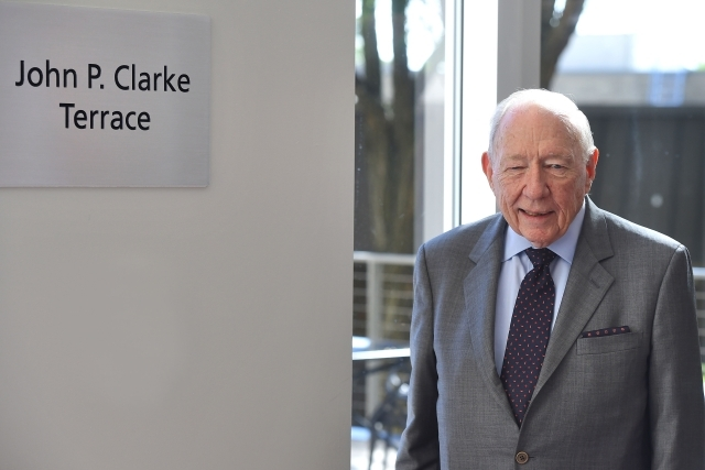 John Clarke infront of the John P Clarke Terrace