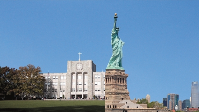 side-by-side image of St. John's building with Statue of Liberty