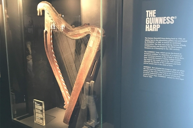 The Guinness Harp enclosed in glass exhibit