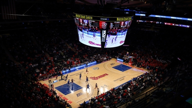 Overhead view of St. John's Basketball court at MSG