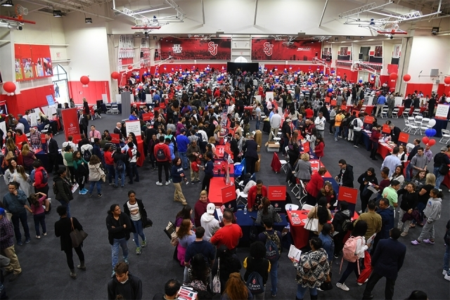 Overhead view of academic fair floor at Taffner Field House