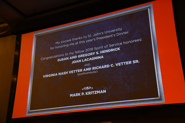 Mark P. Kritzman statement of thanks on the presentation screen