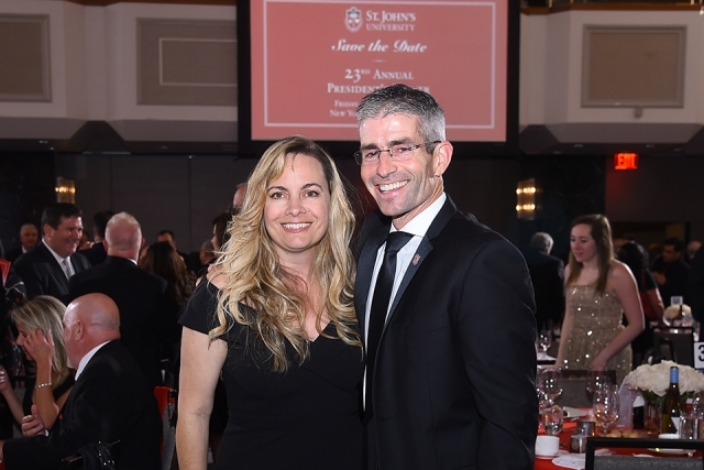 Two guests pose for a photo at the St. John's University 2019 President's Dinner