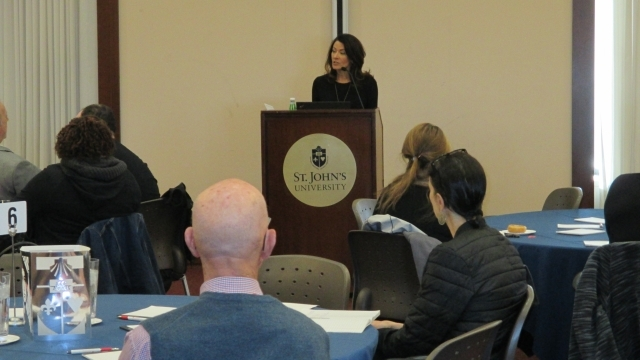 Regina Calcaterra, best-selling author and keynote speaker addresses audience