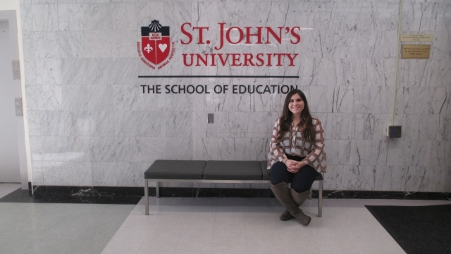 Student in the Spotlight, Nicole Rodriguez is pictured in the Lobby of Sullivan Hall on the Queens campus.