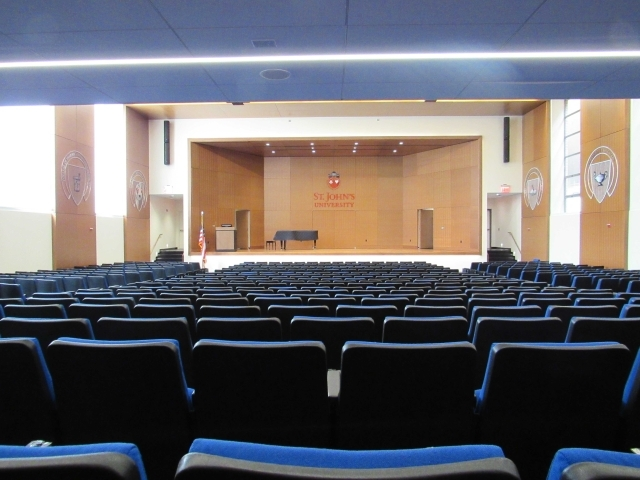 Empty stage in Marillac Auditorium