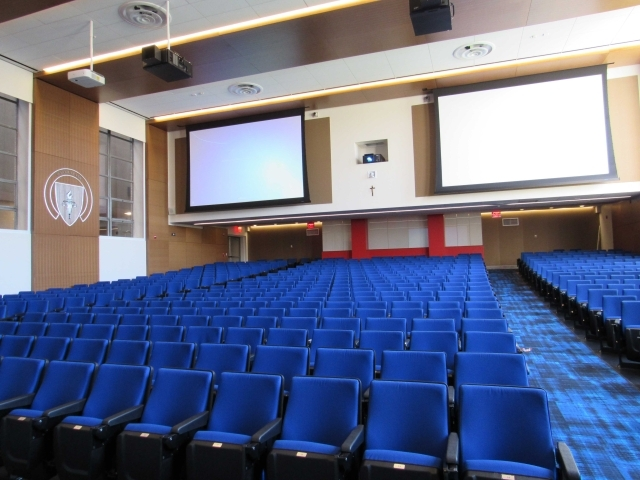 Blue seats in Marillac Auditorium