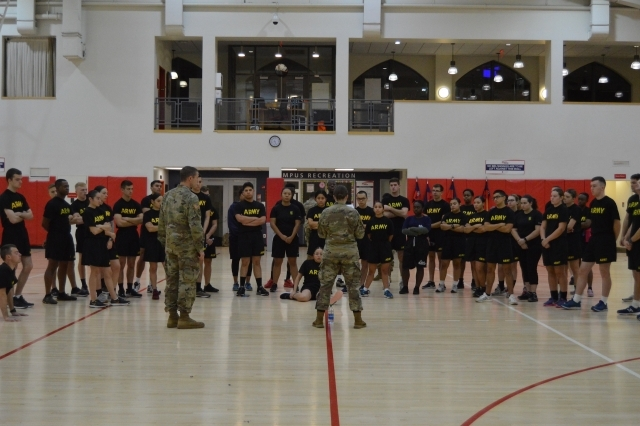 Cadets receive final instructions before beginning their Army Physical Fitness Test (APFT). The APFT is used to measure muscular/cardiovascular strength and endurance. (circa Fall 2019)