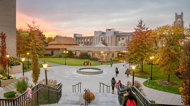 View of Queens campus lower campus at sunset