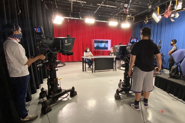Professor Laux's TV Production class in studio