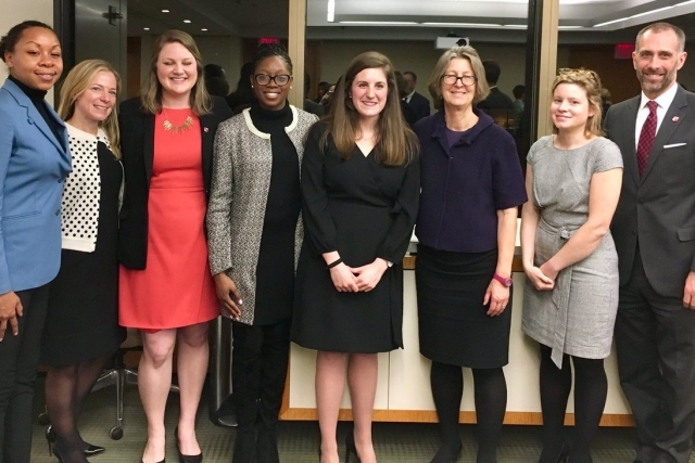 Rose DiMartino '81 third from right stands with St. John's Law students, alumnae, and Dean Michael A. Simons at a 2018 Women's Law Society event