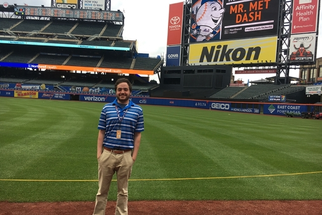 Jason Glantz standing on the baseball diamond at Citi Field