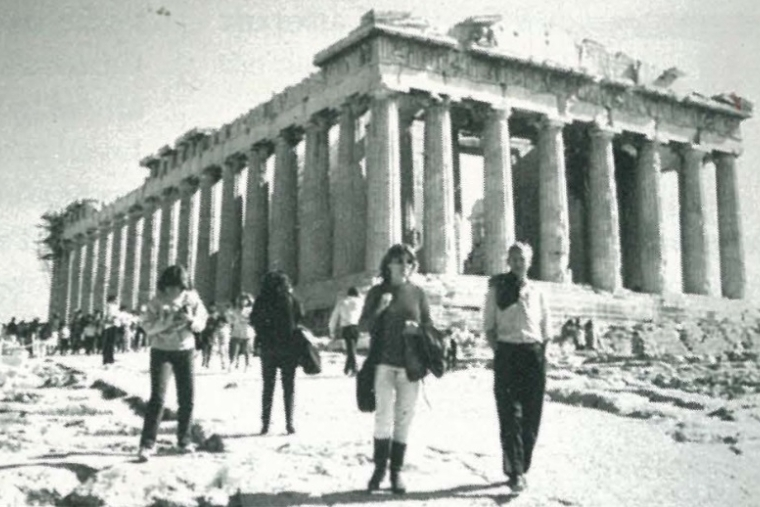 St. John's students standing in front of the Parthenon