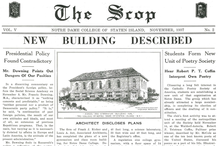 The Scop November 1937 front page article with an image of the building plans for Lavelle Hall
