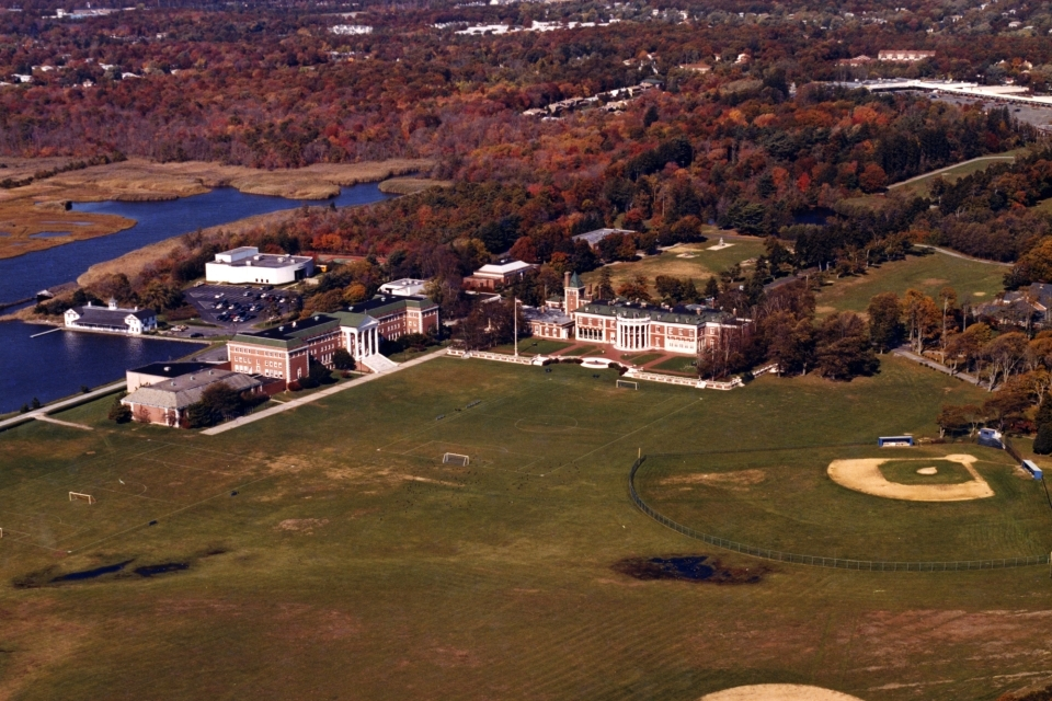 Aerial view of the former Oakdale campus of St. John's University