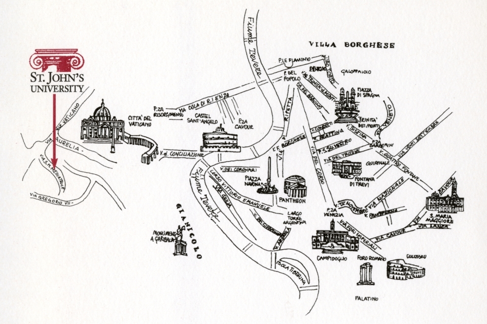 Line drawing map of Rome, Italy, with an arrow pointing to the location of the first Rome campus on Via Santa Maria Mediatrice 24.