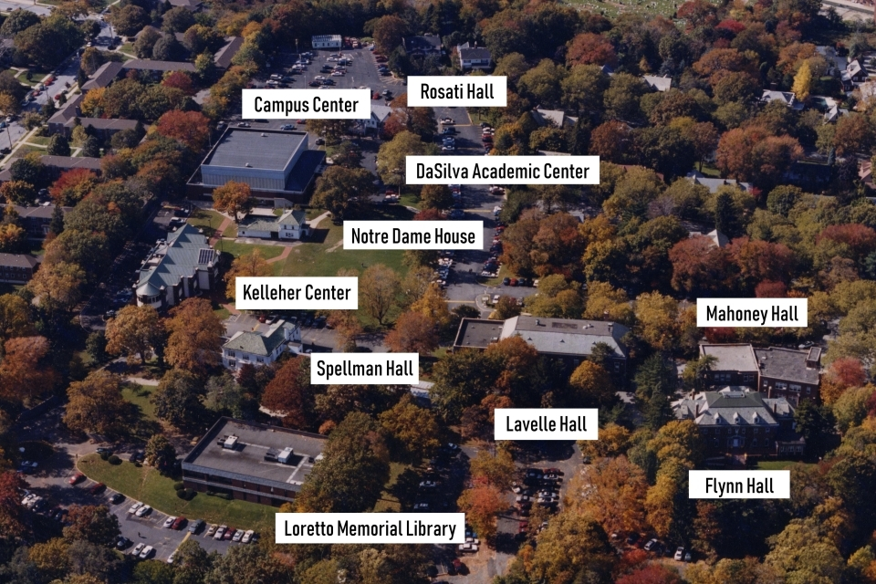 Staten Island campus aerial view with names of buildings