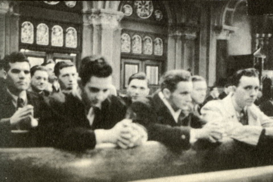 St. John's College students attend Mass in the Church of St. John the Baptist, 1942