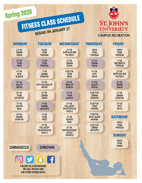 Fitness Class Schedule - Spring 2020