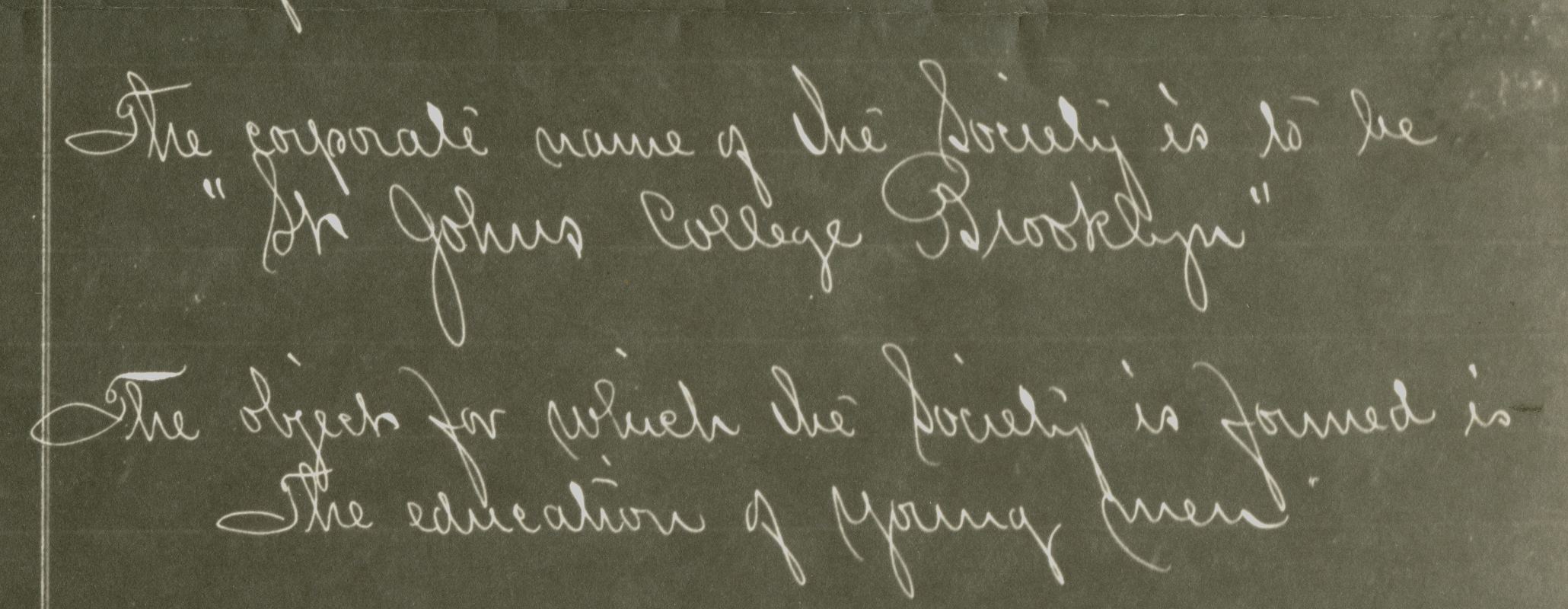 Excerpt from the charter of St. John's College, September 1, 1871.