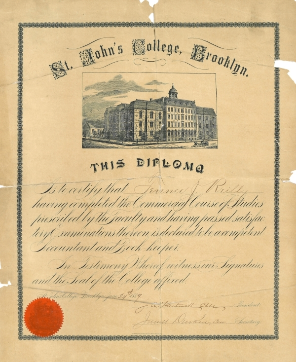 Diploma for the Commercial Course, 1889